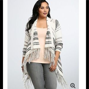 Torrid Striped Fringe Open Cardigan